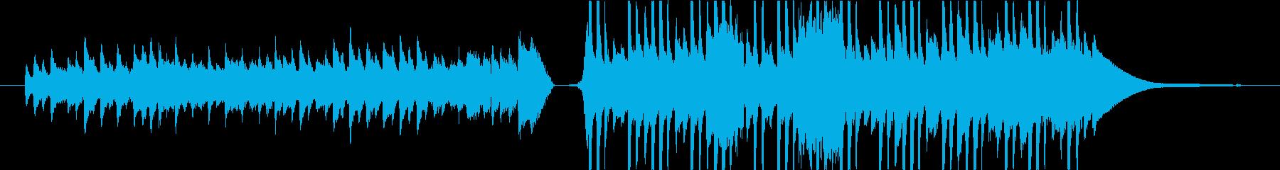 """朝、自然、ピアノ""""静と動""""の洗練された曲の再生済みの波形"""