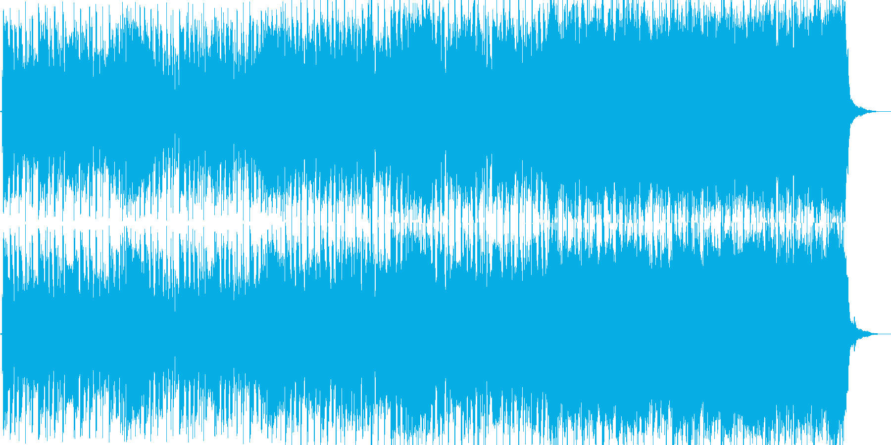 ハードロックと和風メロディの奮い立つ曲の再生済みの波形