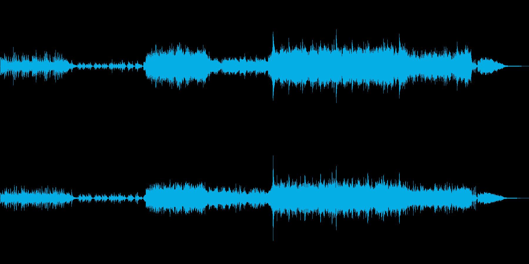 ピアノと弦楽器の和風で切ない映像用BGMの再生済みの波形