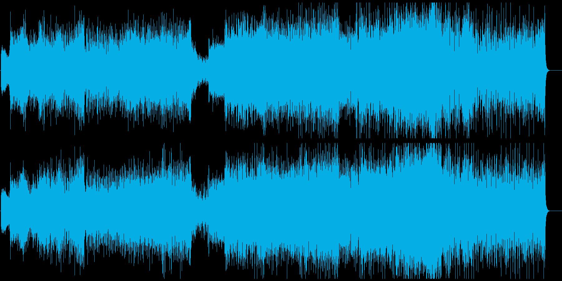 アップテンポなオケとシンセのハイブリッドの再生済みの波形
