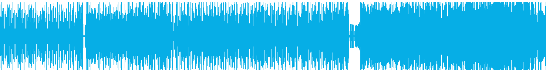 ハイテンポなサイケデリックトランス風の曲の再生済みの波形