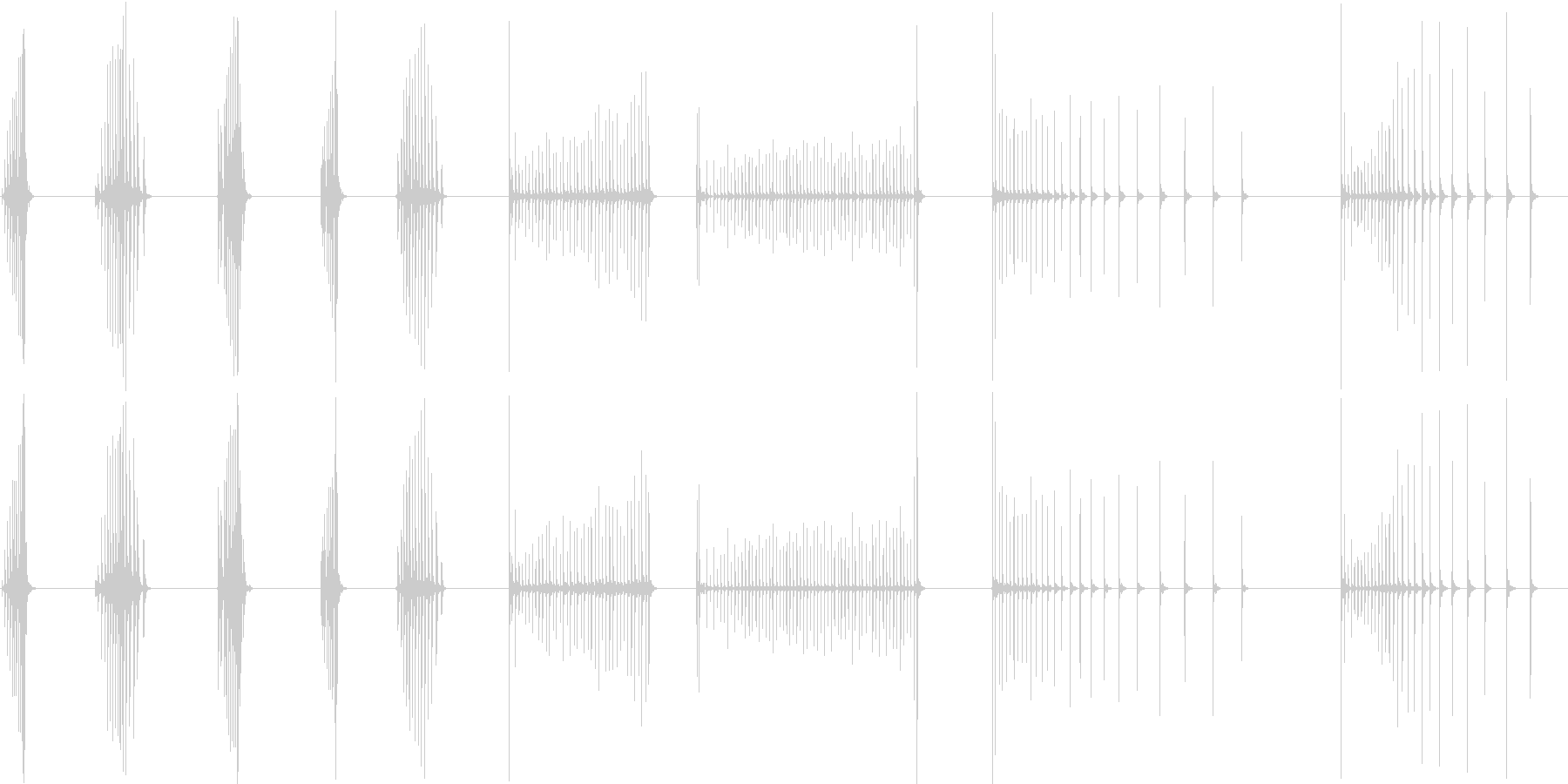 ウッドブロック、ココナッツ、ロール...の未再生の波形