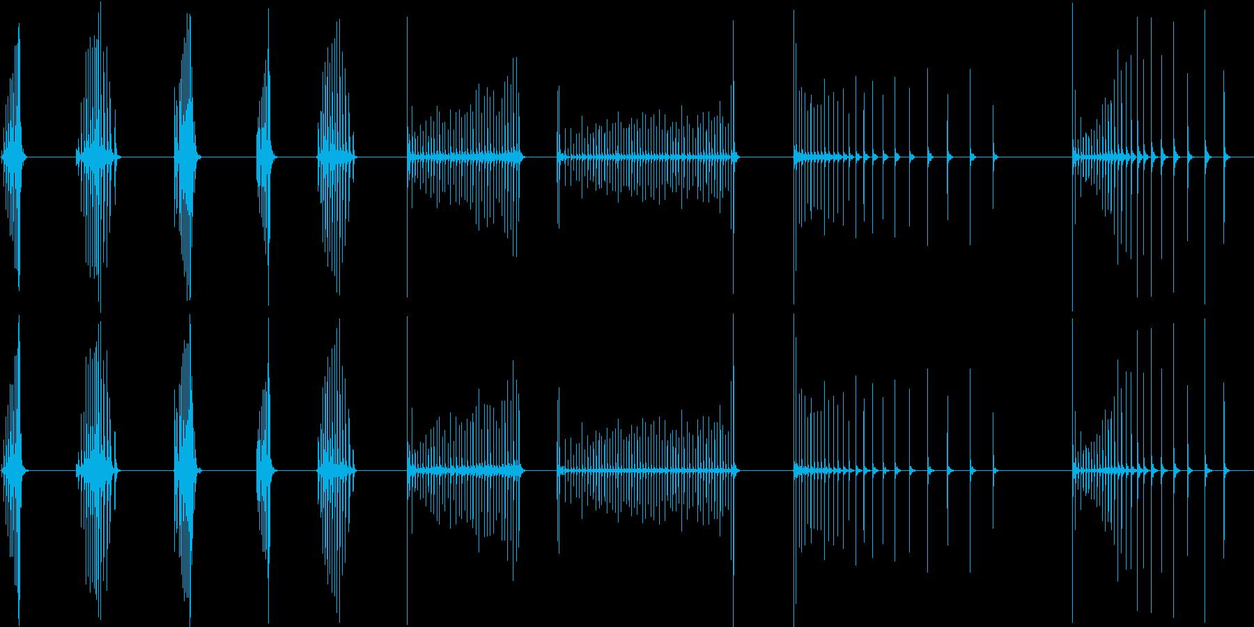 ウッドブロック、ココナッツ、ロール...の再生済みの波形