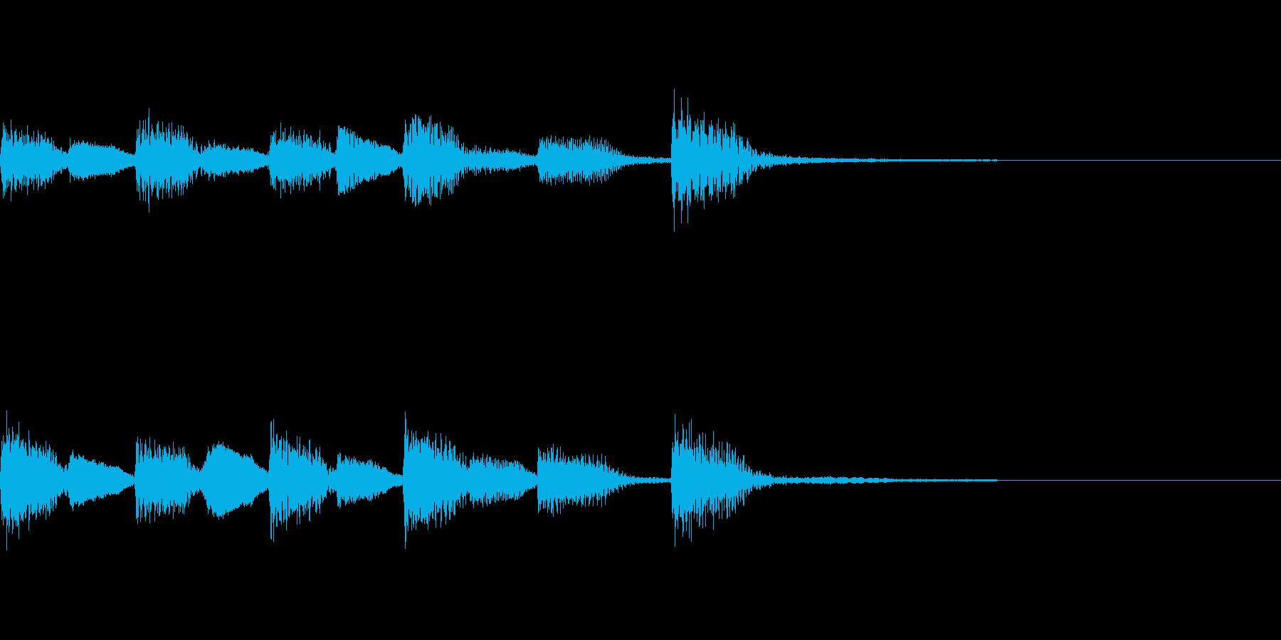 ゲームオーバーのピアノジングルの再生済みの波形