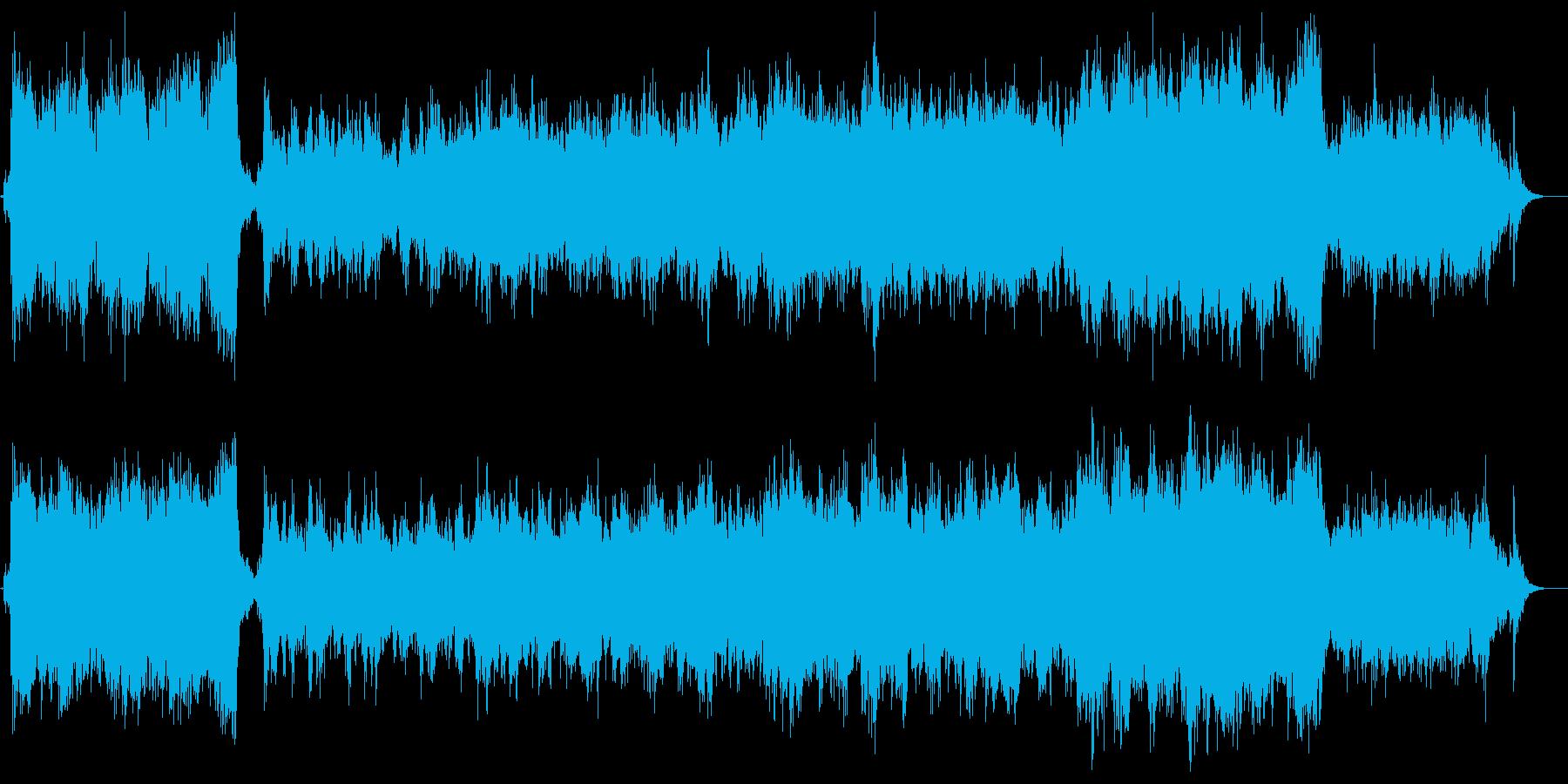ファンファーレが特徴的な劇伴オーケストラの再生済みの波形