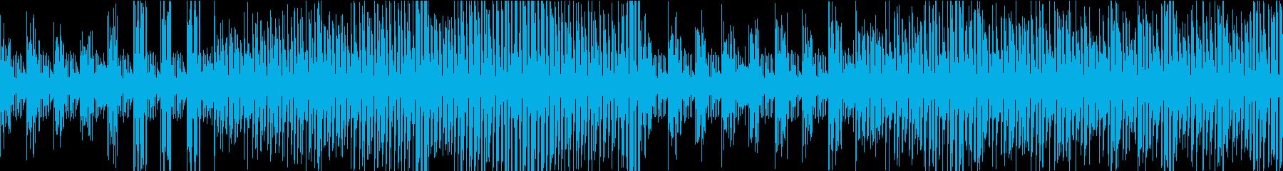 シンセベース音色が次々に変化するループ曲の再生済みの波形