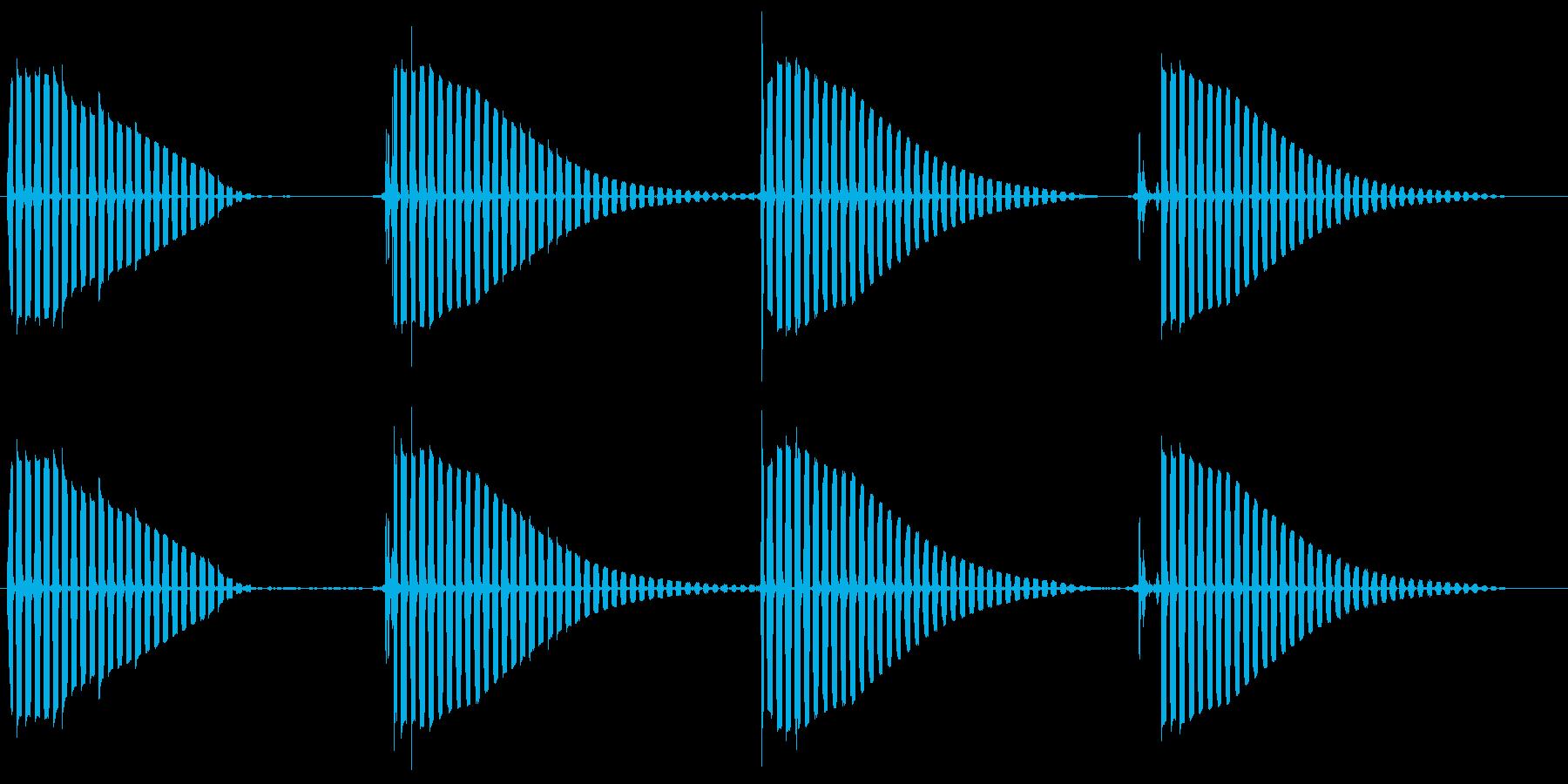 ビョビョ〜ンビチョンと跳ねるカエルの音の再生済みの波形