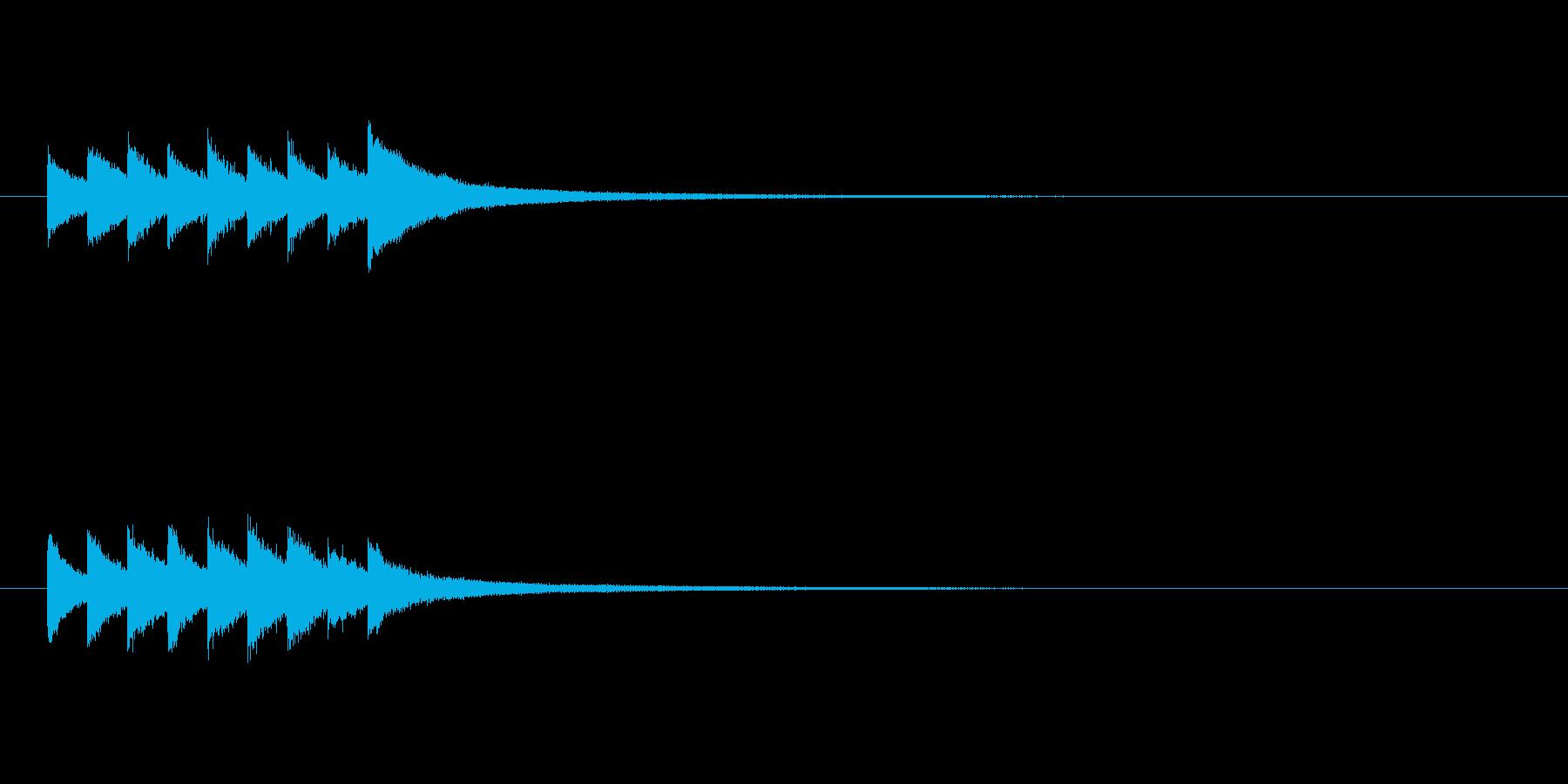 グロッケンシュピールの短いジングルの再生済みの波形
