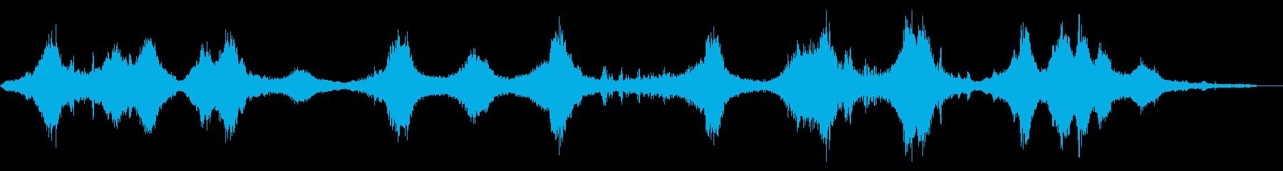 街中で車、トラックの通過音、自転車の音の再生済みの波形