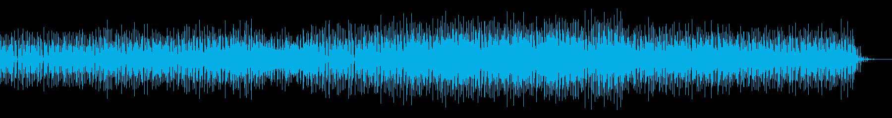 激しいバスドラがフィルインし続けるテクノの再生済みの波形