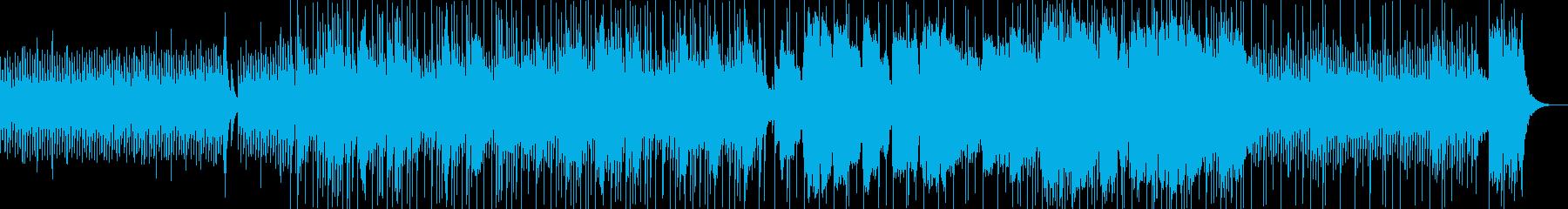 和楽器とドラムが融合した和風な3連符の曲の再生済みの波形