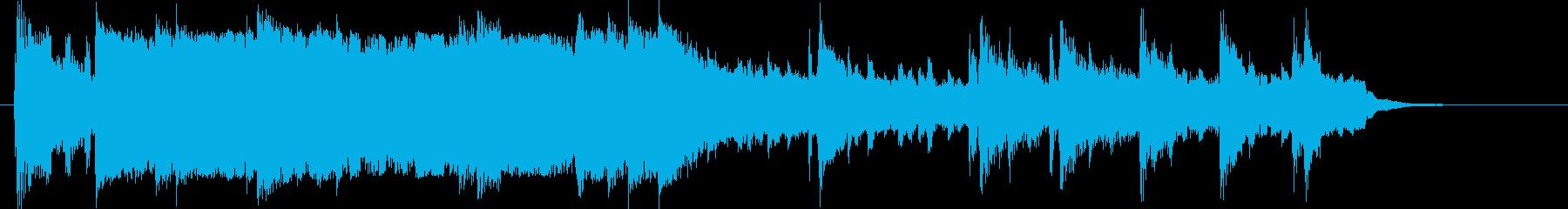 広がりのある優しいシンセサイザーの曲の再生済みの波形
