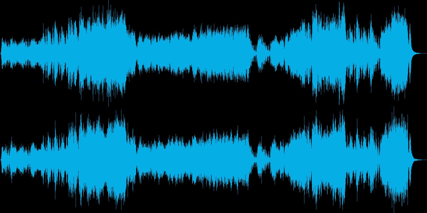 明るく軽快、華やかなオーケストラ曲の再生済みの波形
