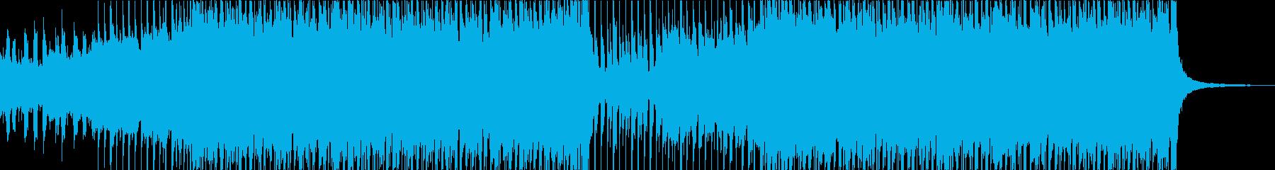 ヘビーなエレキ、疾走感のあるロックBGMの再生済みの波形