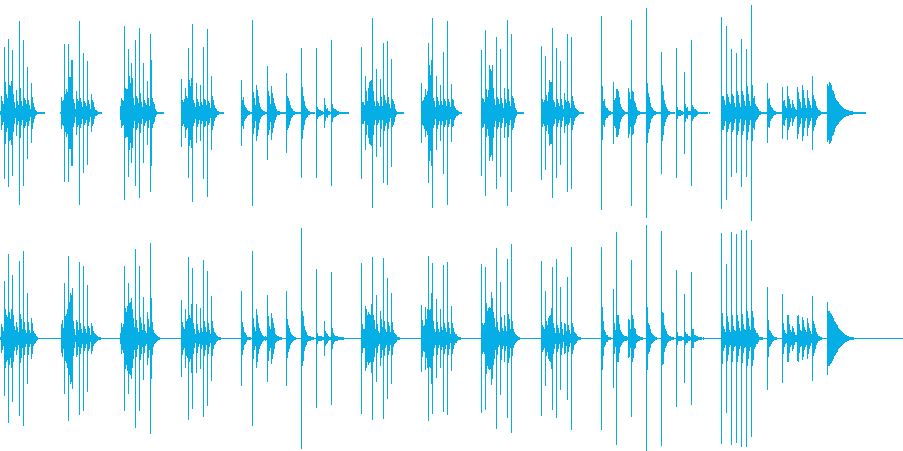 考えてる時に流れるほのぼのBGMの再生済みの波形