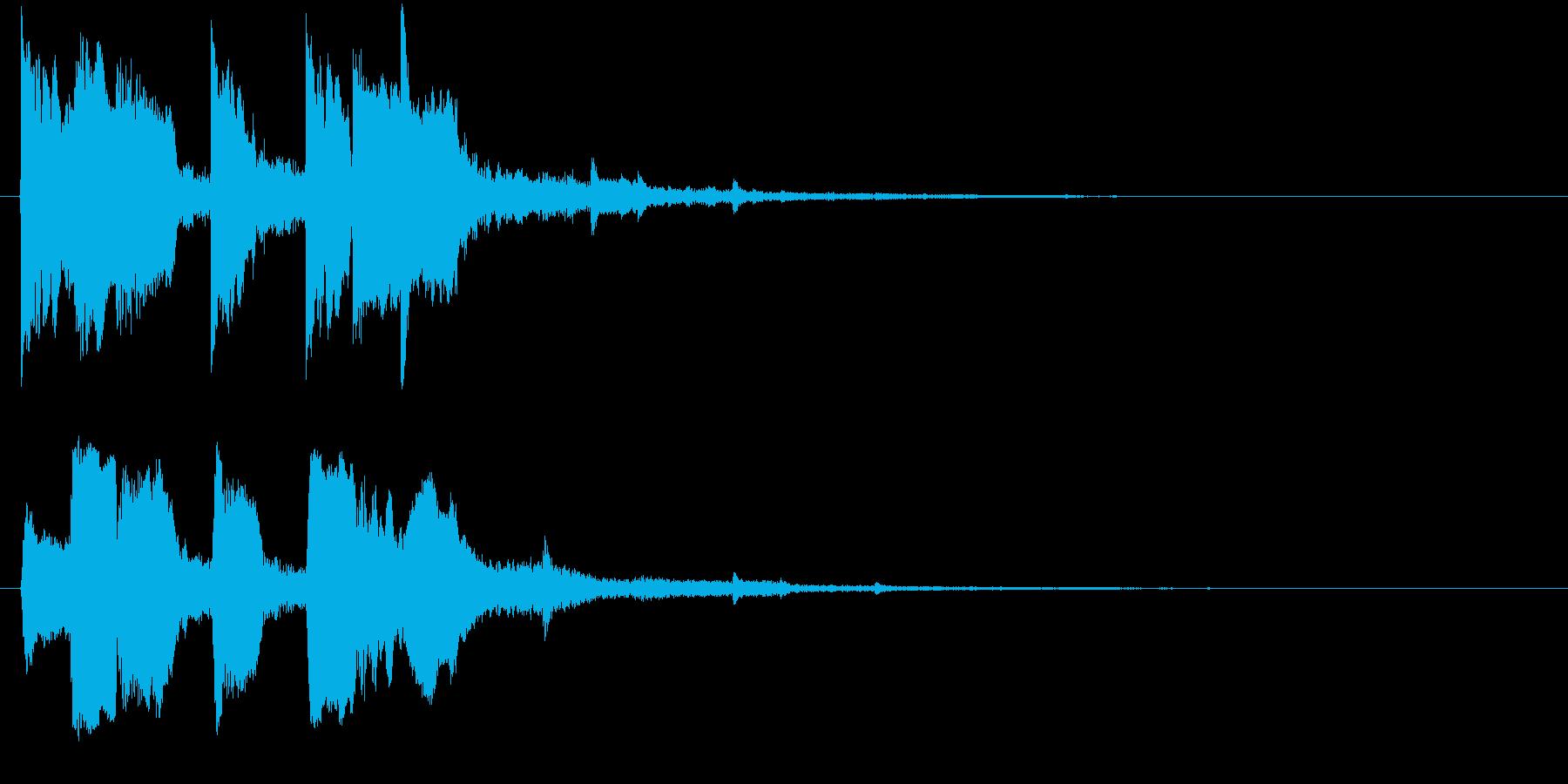 上昇系の効果音です。『タララッ タッタ…の再生済みの波形
