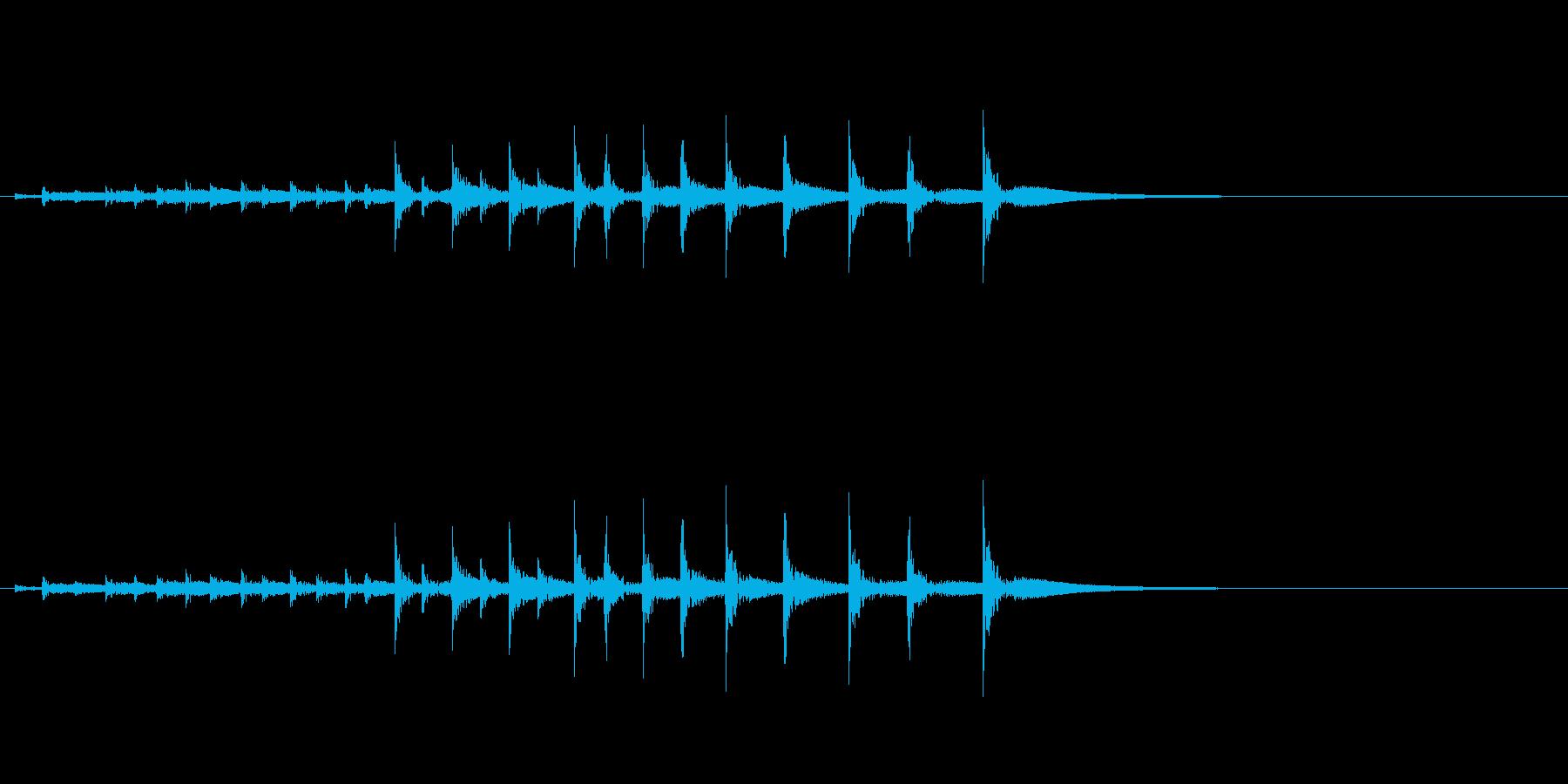 祭囃子や邦楽囃子の豆太鼓のフレーズ音の再生済みの波形