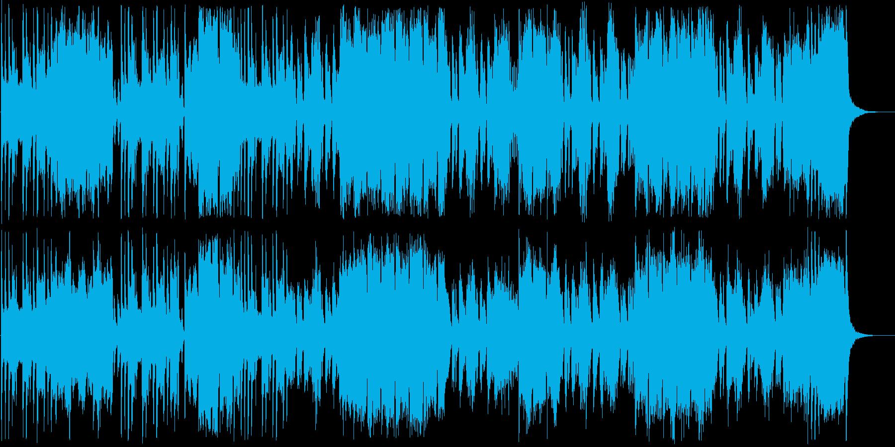 めまぐるしく変わる様子のコミカルな曲の再生済みの波形