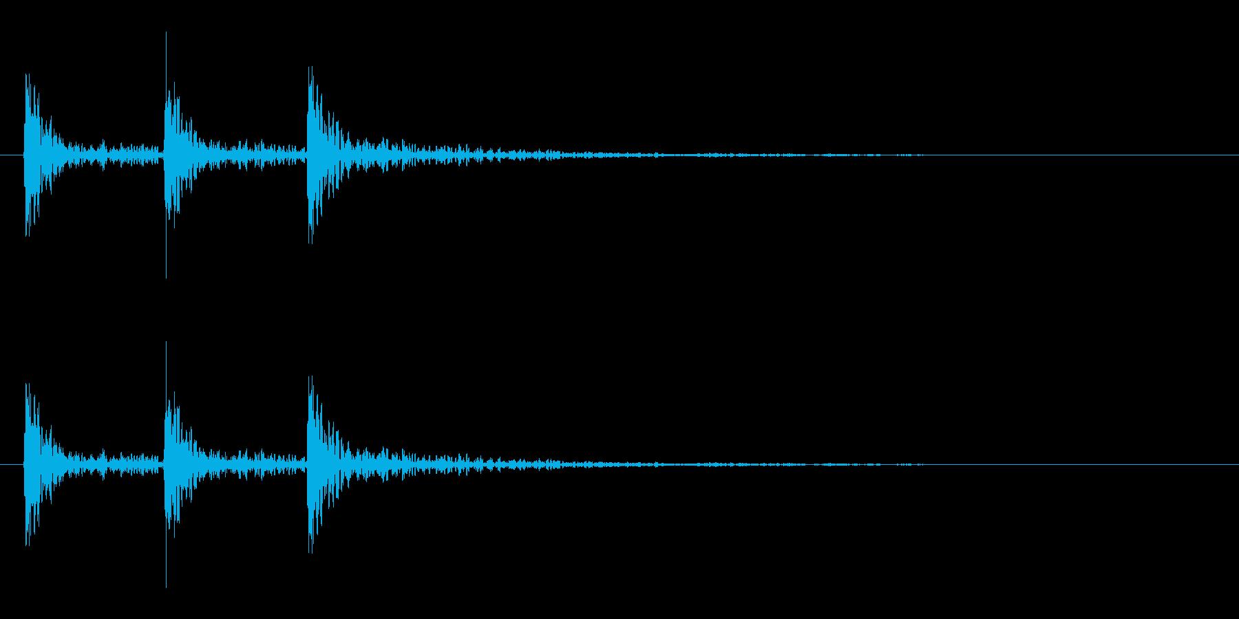 強い打撃音(3発)の再生済みの波形