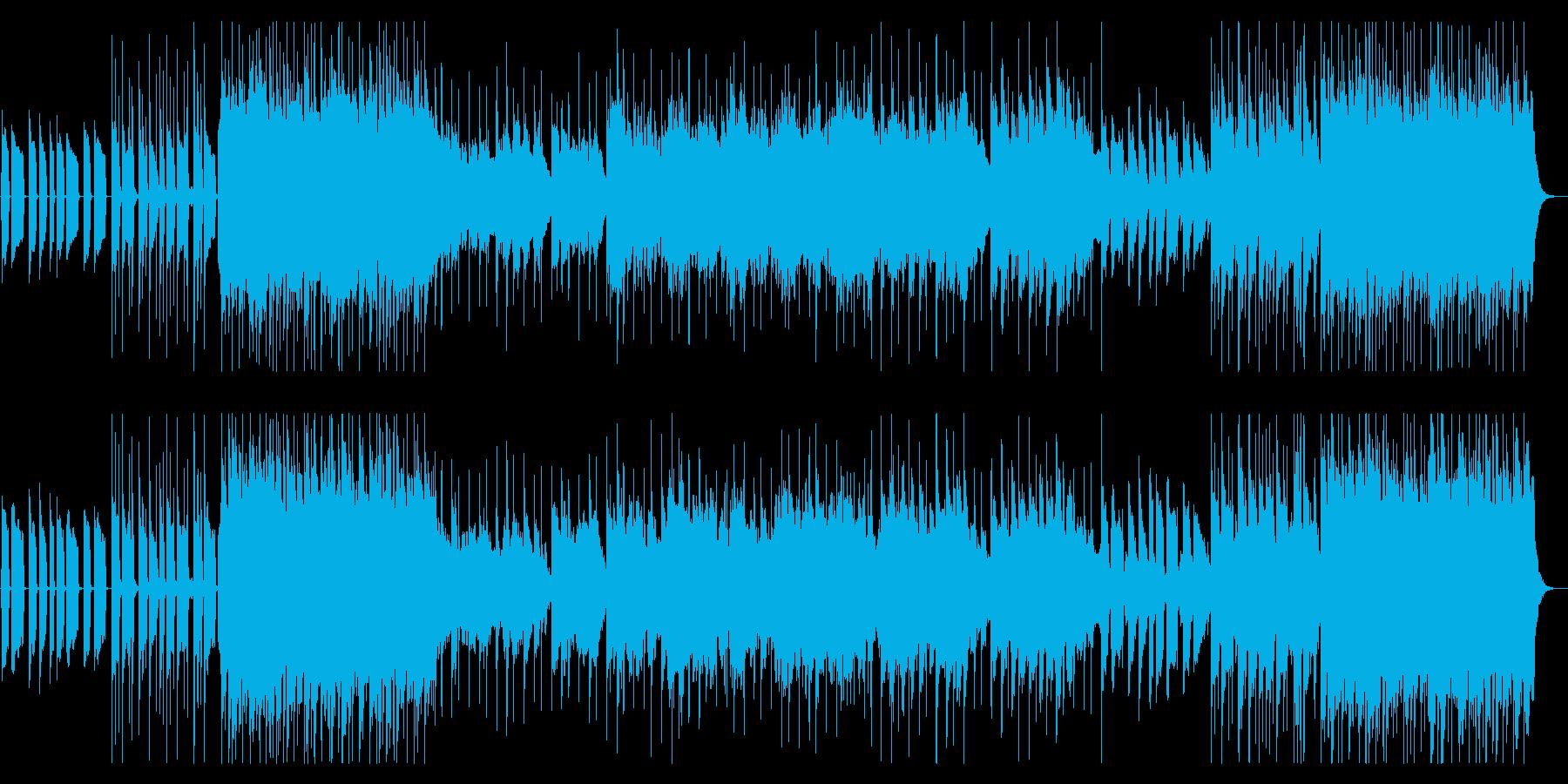 ポップで陽気な始まりから幻想的な展開の曲の再生済みの波形
