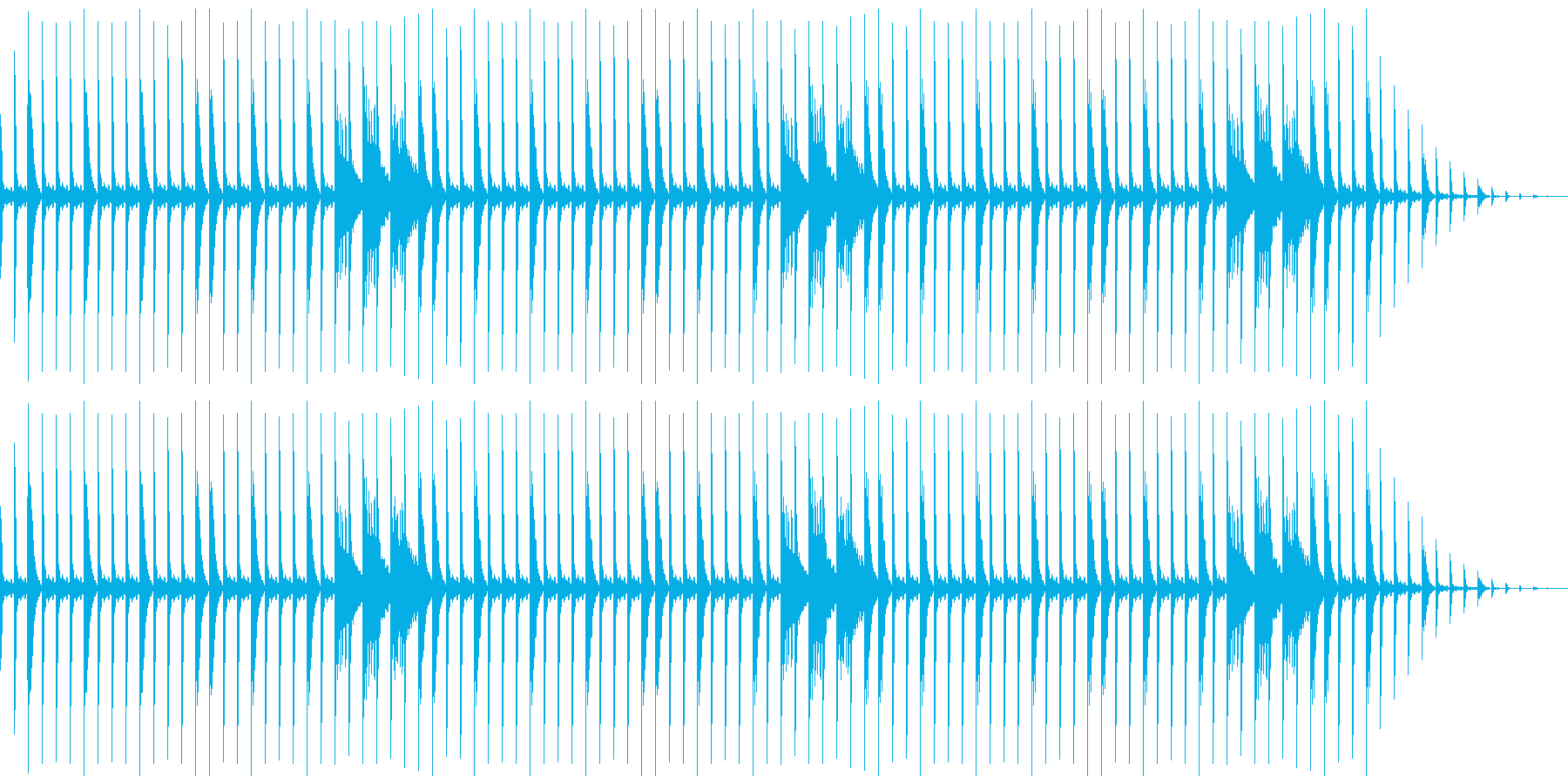 80年代風ドラムループの再生済みの波形