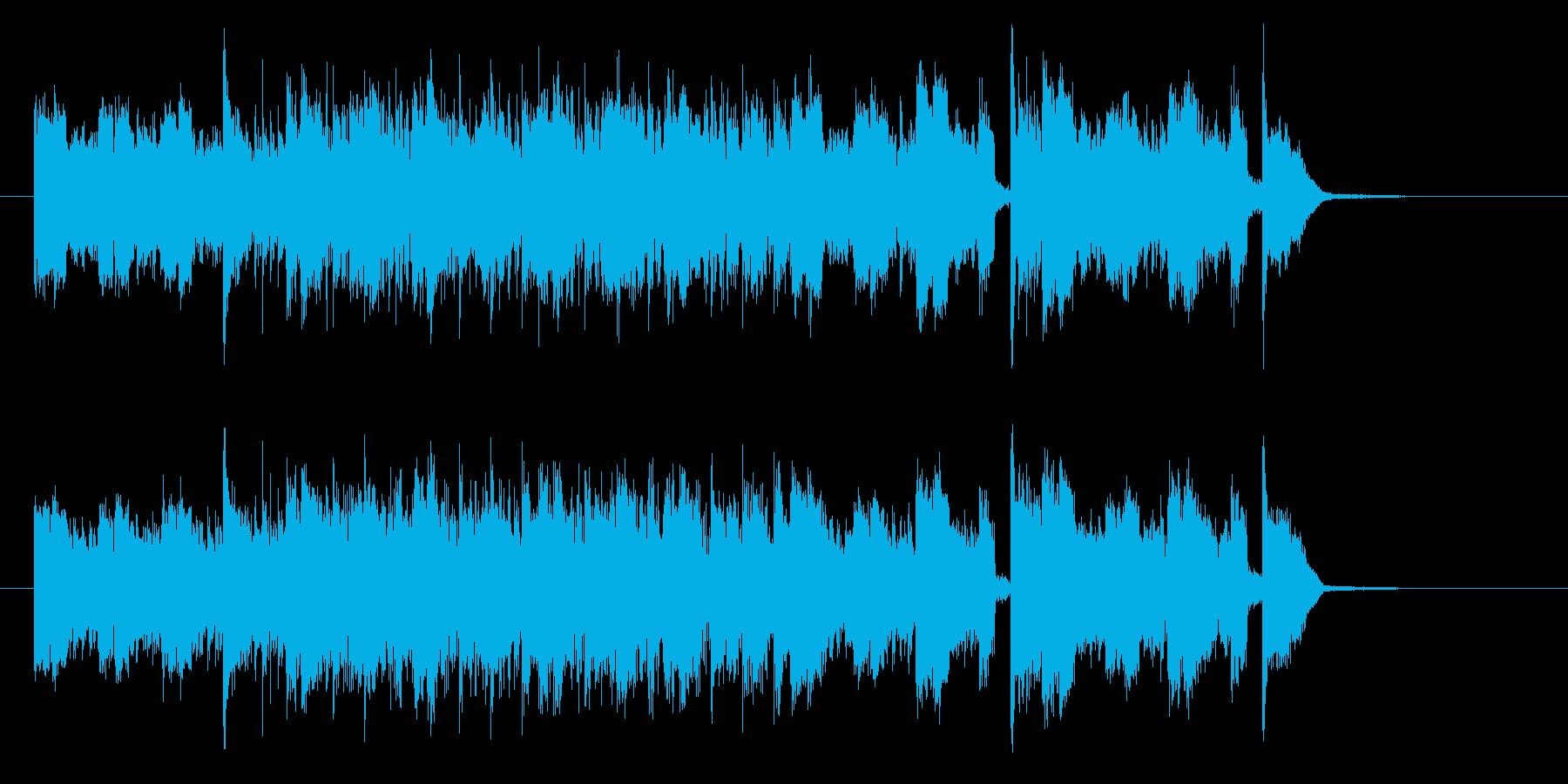 ギターとドラムの快速なロックの再生済みの波形