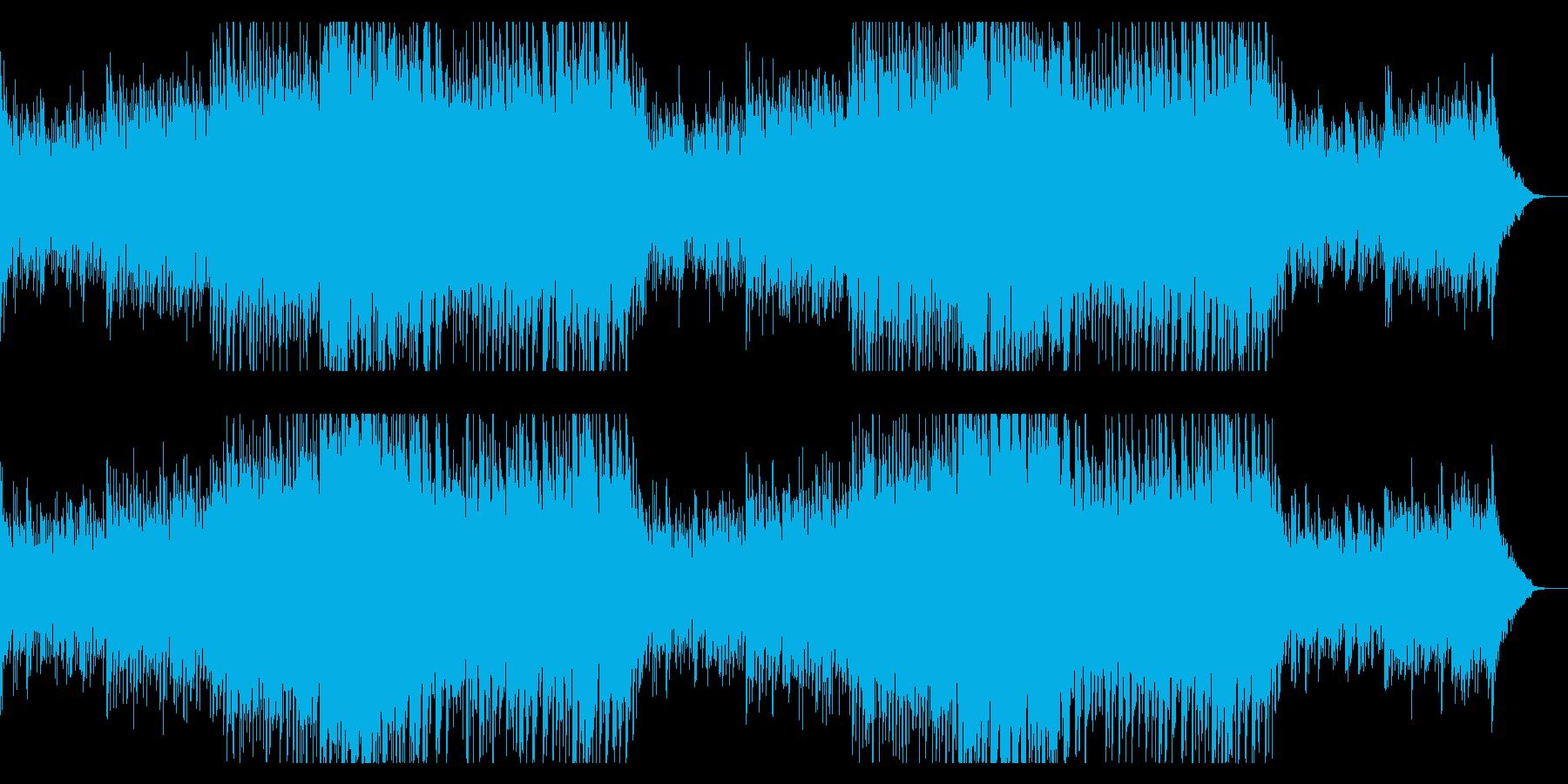 華やかなピアノと4つ打ちの明るい曲の再生済みの波形