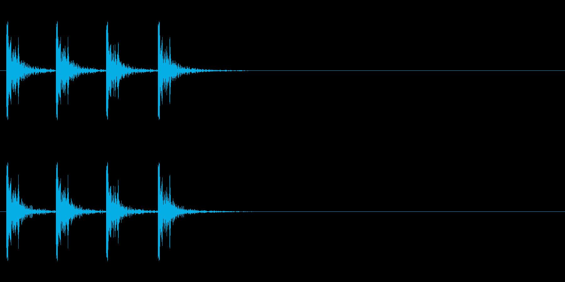 カウント音、バスドラムの再生済みの波形