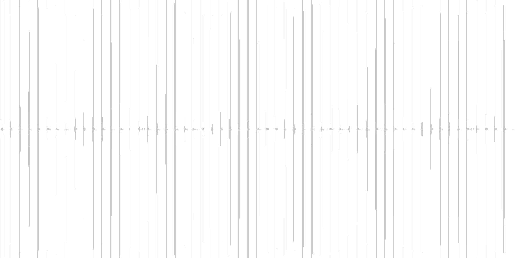 スニーカーでタイル張りの道を歩く音の未再生の波形