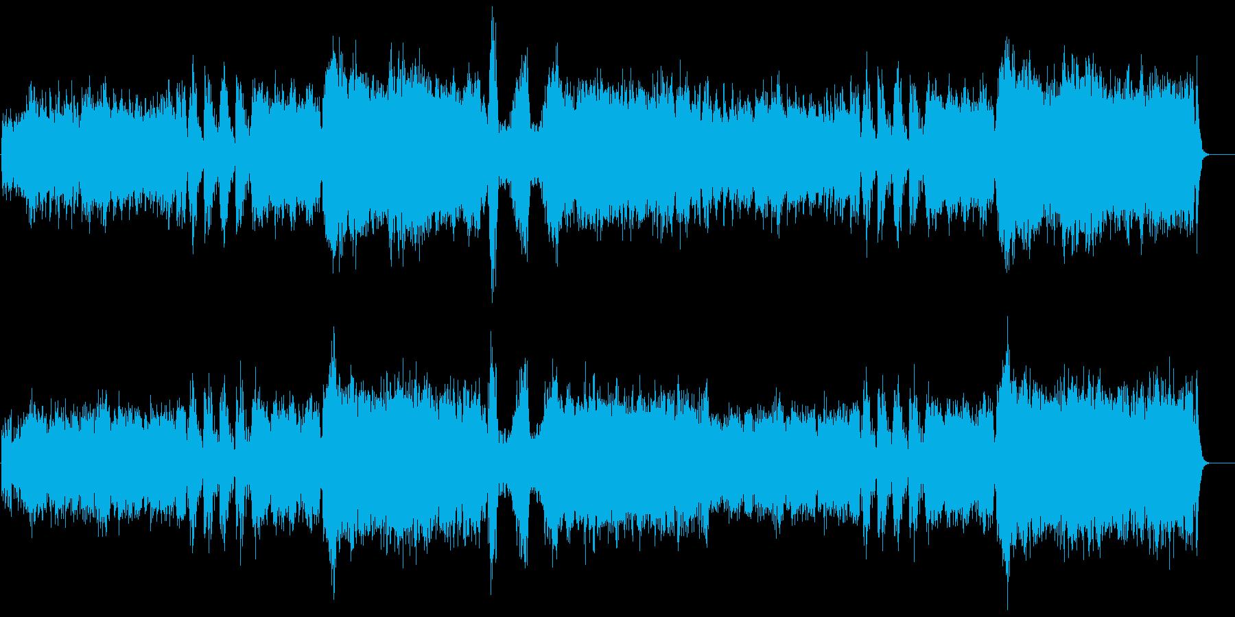 オーケストラと和太鼓による祭囃子の再生済みの波形