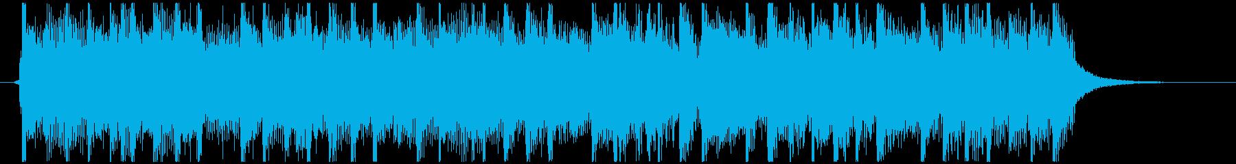 ダンス調のシンセとギターバンドのジングルの再生済みの波形