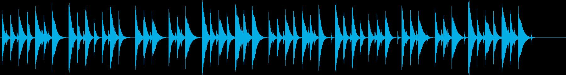 ほのぼのした雰囲気のある木琴の短い曲の再生済みの波形