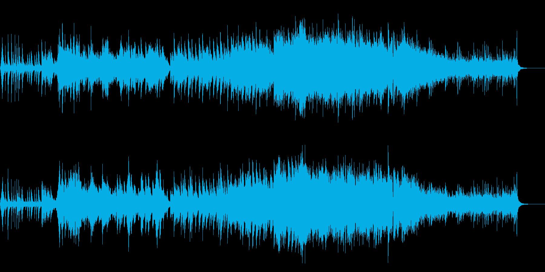 ドラマチックに盛り上がるピアノと弦楽の曲の再生済みの波形
