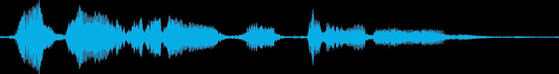 水中での水中活動の男性の声の再生済みの波形