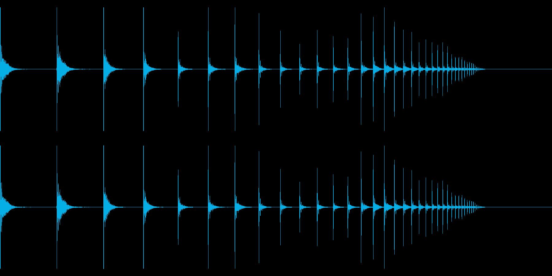 【生録音】卓球の球が跳ねる音 6 転がるの再生済みの波形