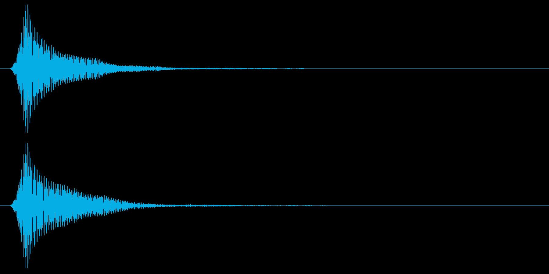 丸みのある低めのボタン音の再生済みの波形