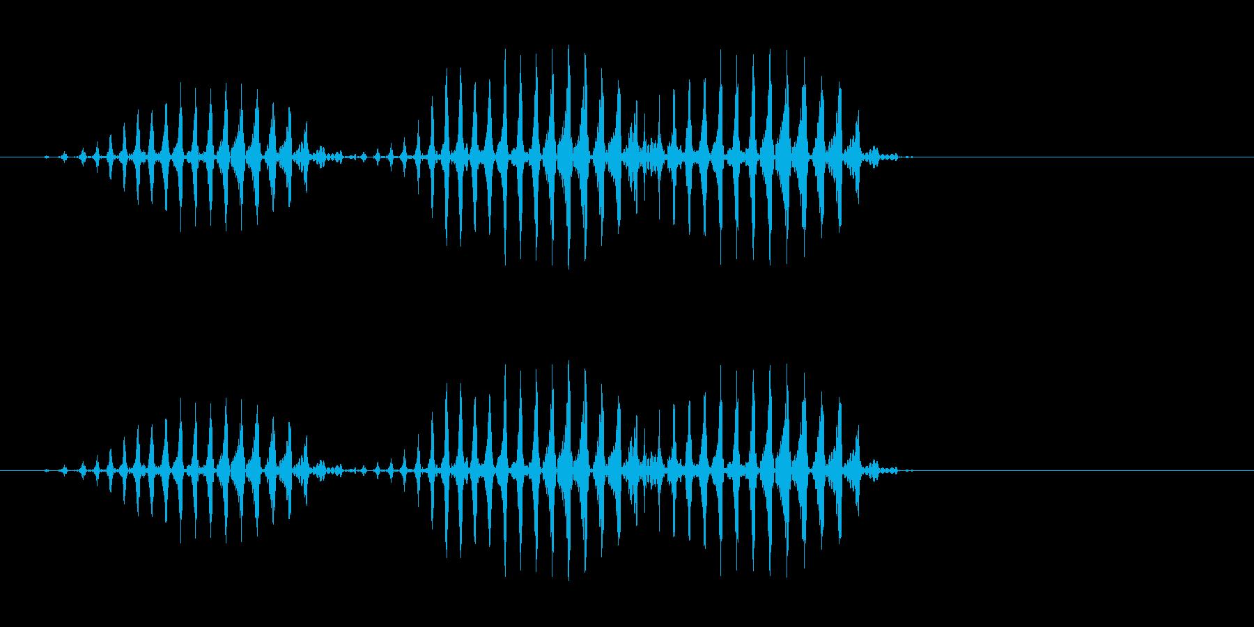 速いリズムのケロケロケロ効果音の再生済みの波形