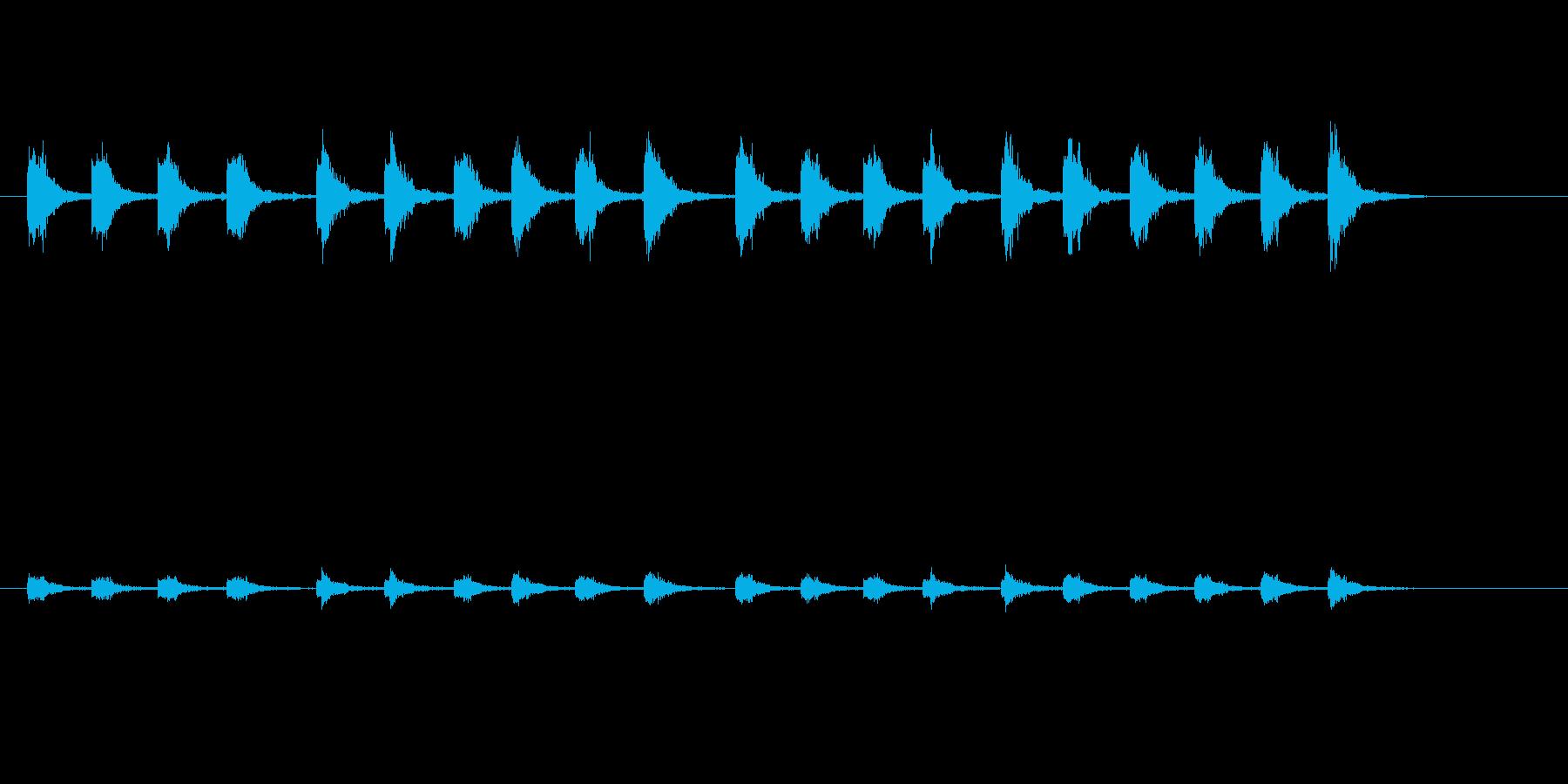 タイプライターのタイプ音_予告・告知動画の再生済みの波形