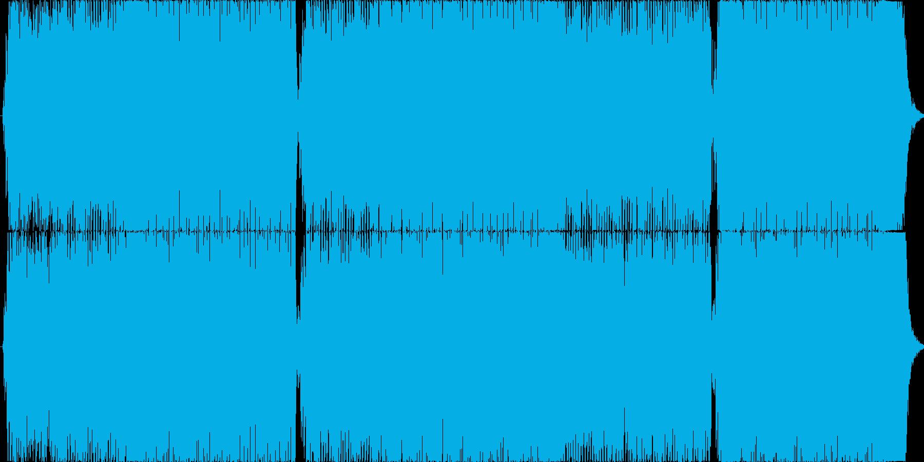 重めのギターが印象的な4分打ちの楽曲01の再生済みの波形