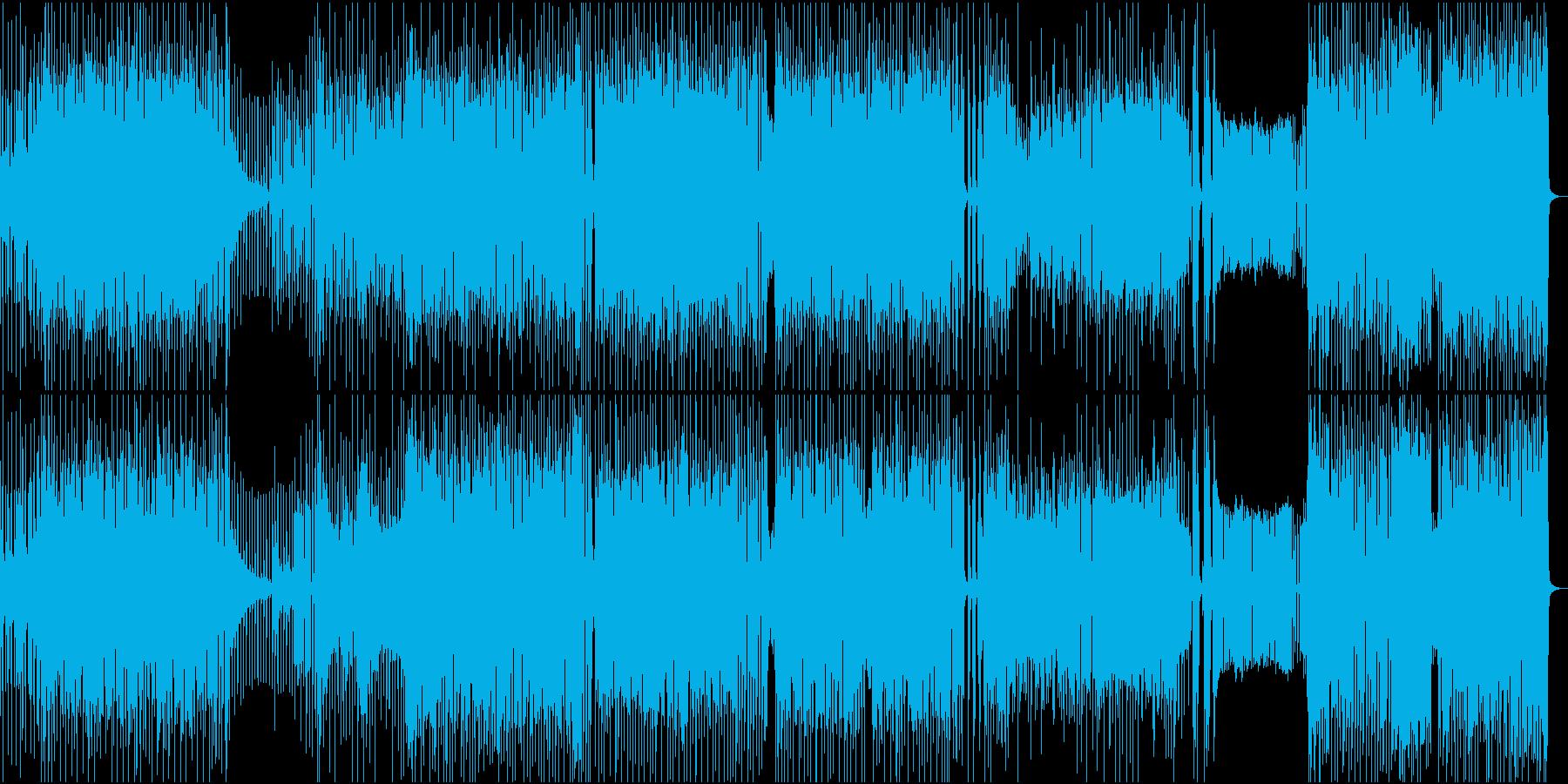 ハイテンポハイテンションな雰囲気のロックの再生済みの波形