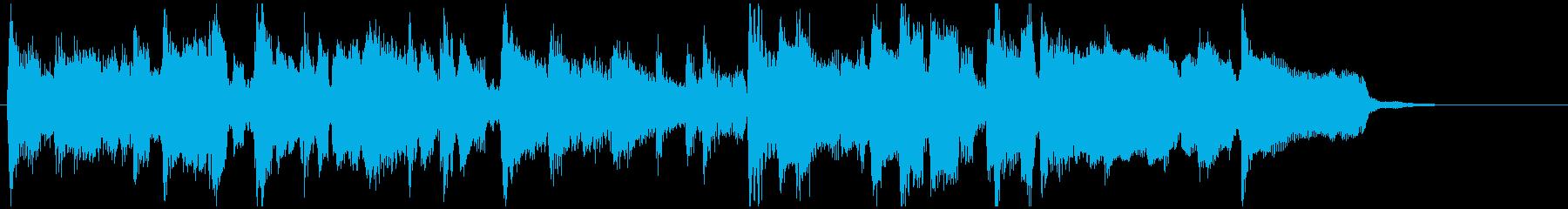 柔らかいジャズロック系の15秒ジングルの再生済みの波形