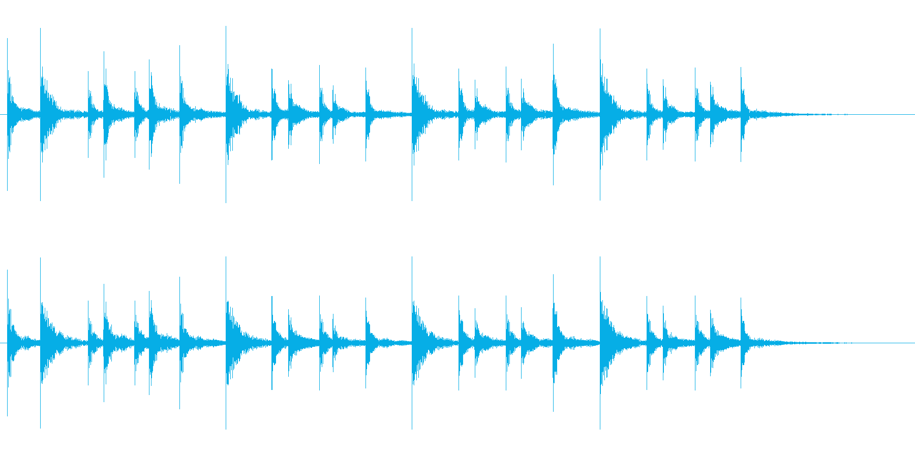 和太鼓の締太鼓のお祭りフレーズ音+FXの再生済みの波形