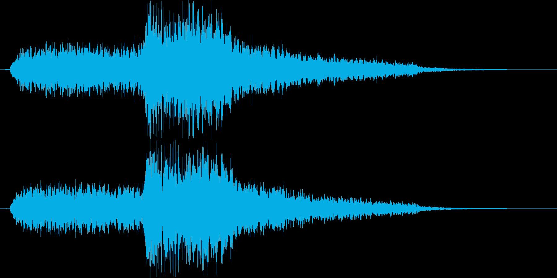 静かな音からハープで終わるエンディング曲の再生済みの波形
