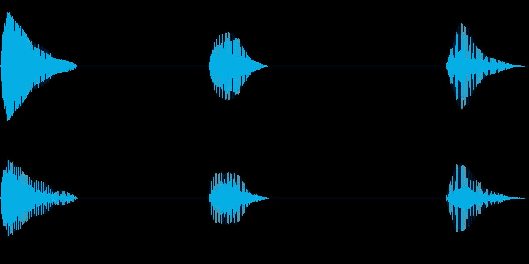 おならを小出しに3発出した音の再生済みの波形