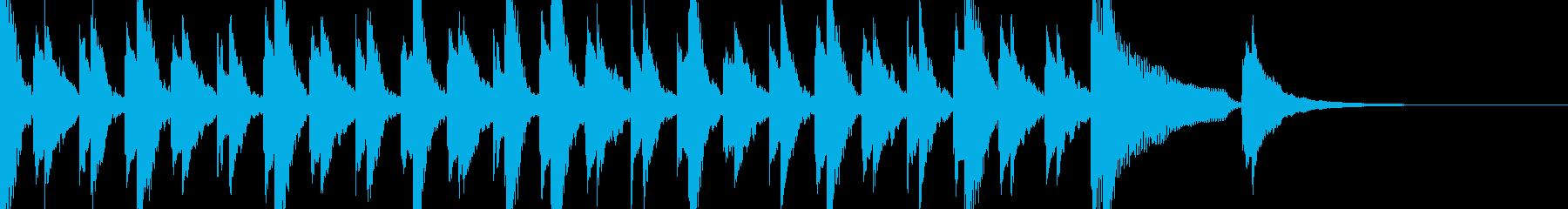 ピアノとベルのジングル 3拍子の再生済みの波形