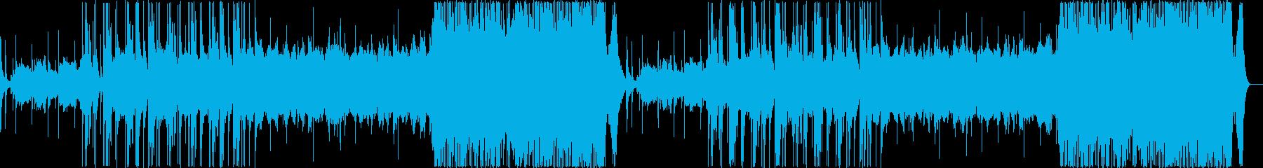 津軽三味線が印象的で、壮大な和風曲の再生済みの波形