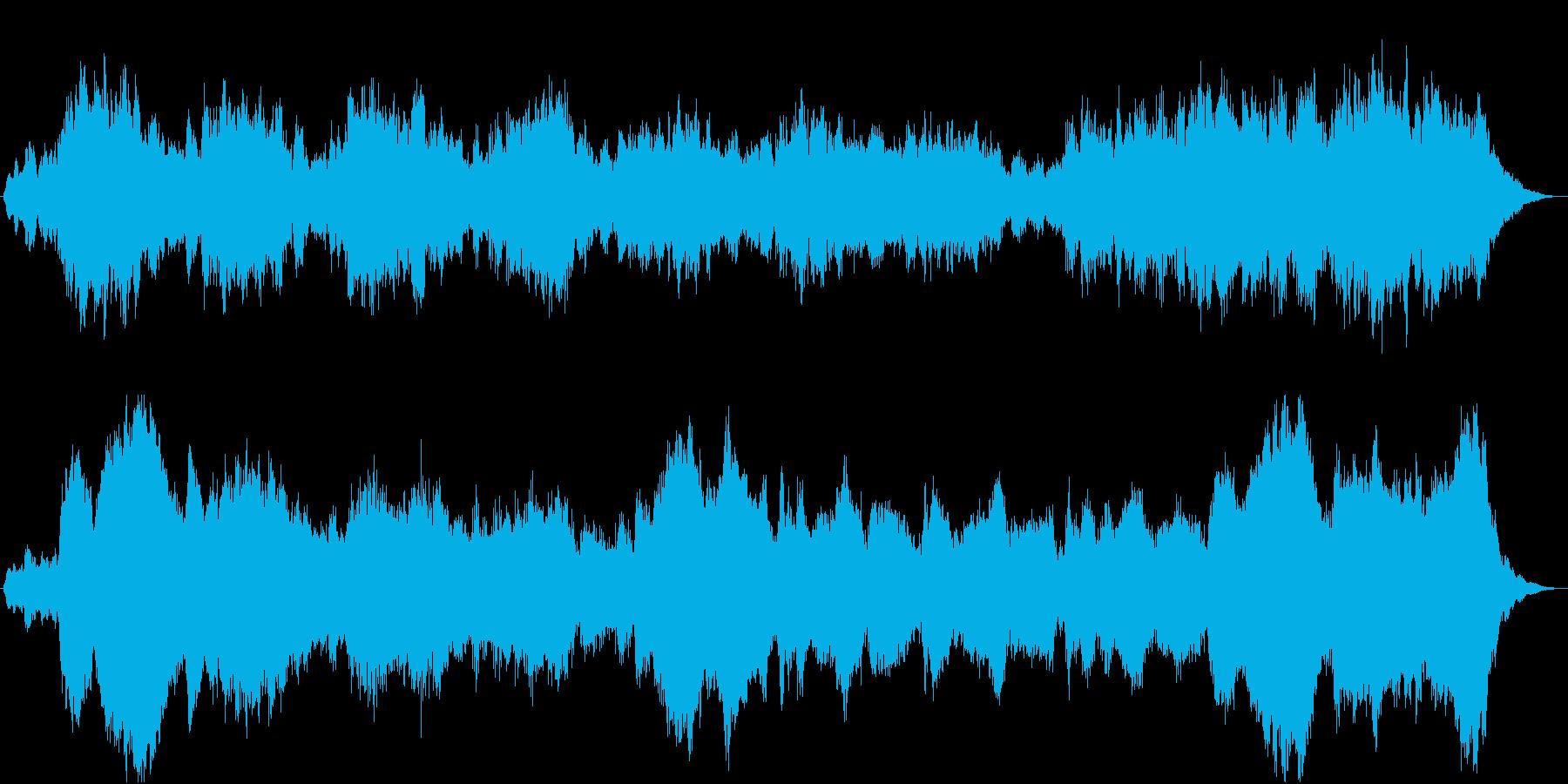 悲痛で重くて辛く悲しい雰囲気の30秒の曲の再生済みの波形