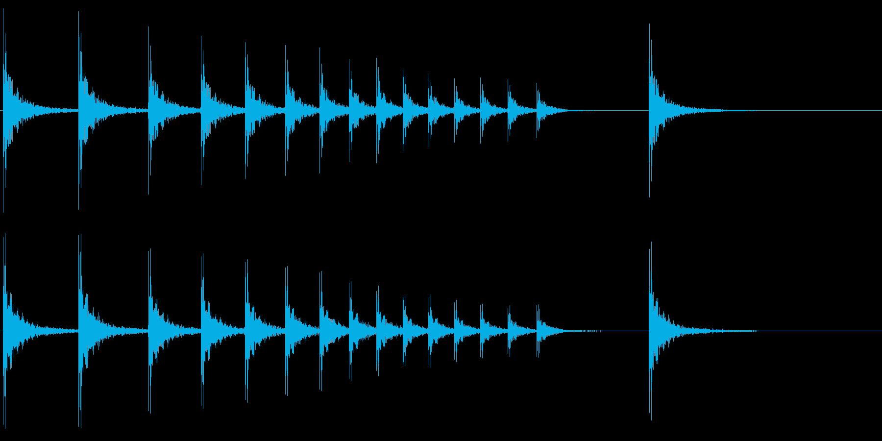 SE 柝(拍子木・きざみ)-1の再生済みの波形