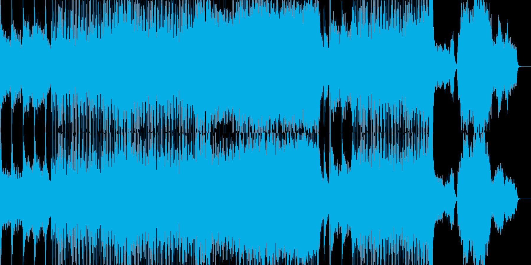 神秘的なリズミックなオーケストラ楽曲の再生済みの波形