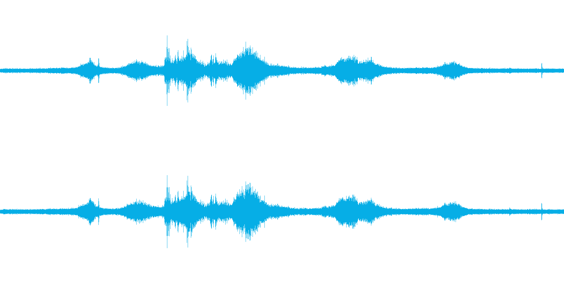 【生音】雷雨21 - 雨と雷と通行音 …の再生済みの波形